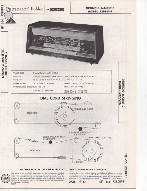 1963 Grundig Majestic 5299u 5299s Radio Service Manual