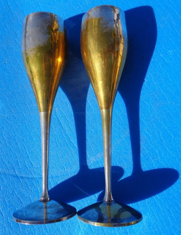 CHAMPAGNE FLUTES LONG STEM MADE IN INDIA set of 2 SILVER PLATED