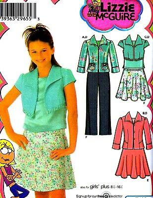 GIRLS PLUS SIZE JACKET, SKIRT, PANTS & TOP SEWING PATTERN 8½-16½ Simplicity 4261 Jacket Top Skirt Pants