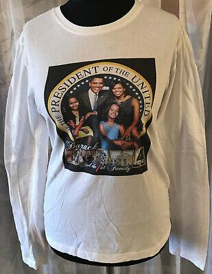 Barack Obama Weißes T-shirt (Hingucker: Damen T-Shirt L weiß BARACK OBAMA 1st Family The President Of The USA)