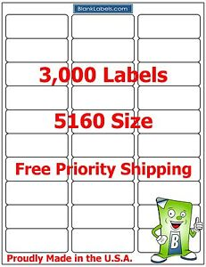 3000 Laser/Ink Jet Labels 30up Address Compatible with Avery 5160.  100 Sheets