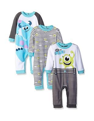 Disney Baby Boys' Monsters Inc Mike and Sully 3 Pack Coveralls Blue 6 ... NO TAX