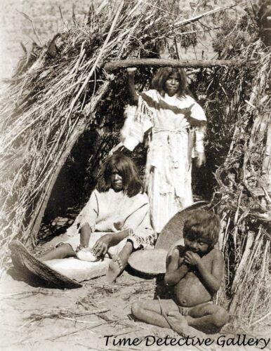 A Paiute Indian Woman Grinding Seeds - 1872 - Historic Photo Print