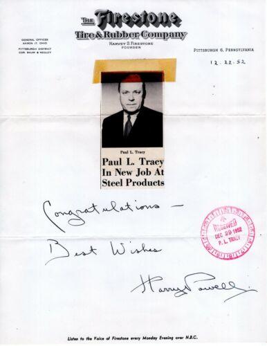20 pc LOT Firestone Tire PAUL L. TRACY Letterheads 1947- 1956 Office Documents