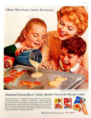 Aunt Jemima Original Pancake Mix - Vintage 1958 Aunt Jemima pancake mix animal shape advertisement print ad art