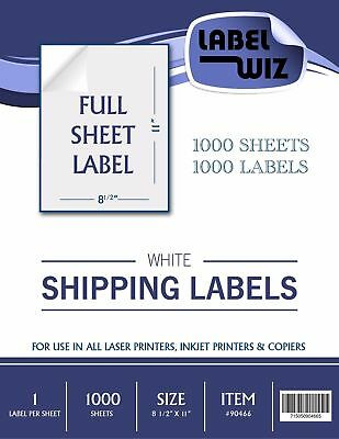 1000 Full Sheet Shipping Label - 8.5 X 11