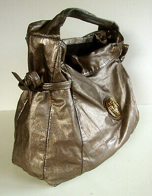 AUTH VINTAGE GUCCI METALLIC LEATHER LARGE DRAWSTRING PURSE/SHOULDER BAG - ITALY!