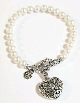 Tacori Diamond 925 Heart locket charm pendant on Pearl Bracelet