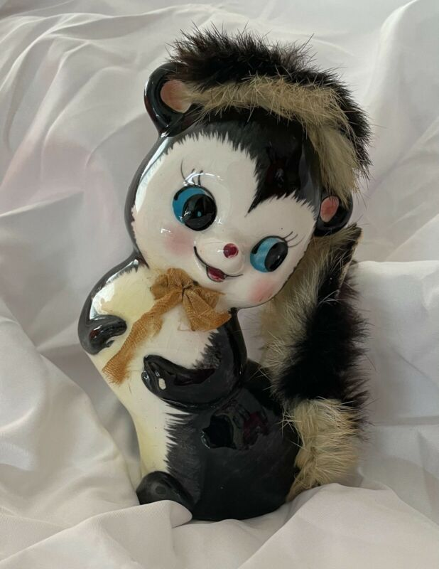 Vintage Ceramic Skunk Savings Bank Figurine with Fur and Stopper