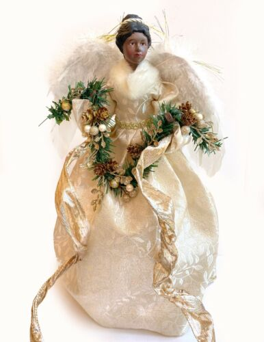 """18"""" Gold Black Christmas Tree Angel Topper African American Victorian Greenery"""