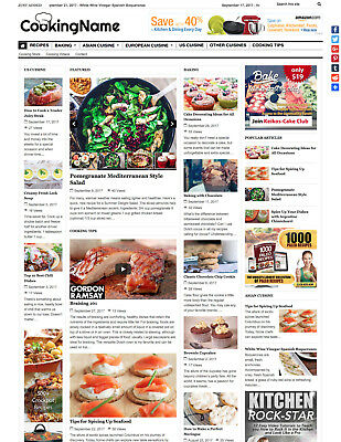 Cooking Recipes Food Website For Sale Affiliate Mobile Responsive Design