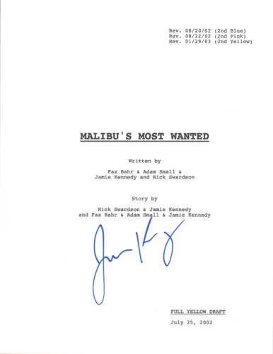 Jamie Kennedy Signed Autographed Malibu's Most Wanted Movie Script COA