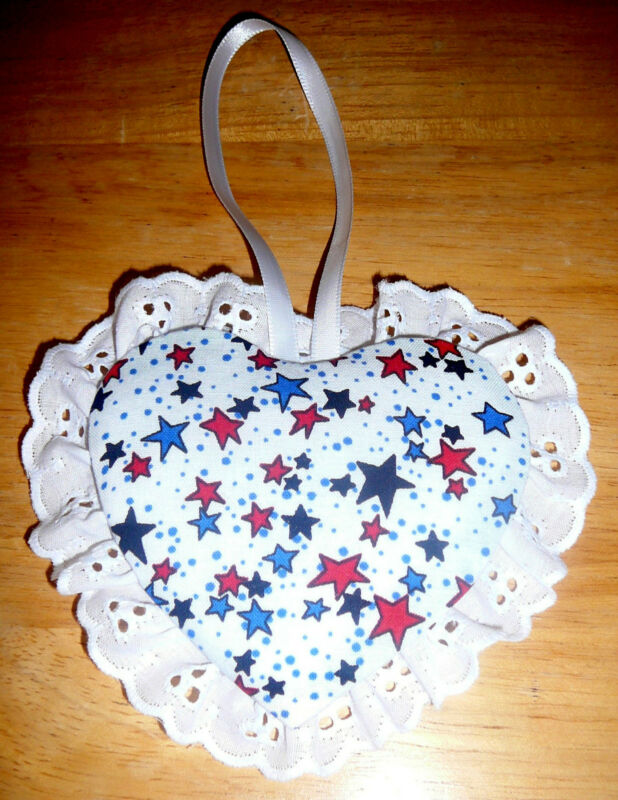 ORNAMENTS~Fabric & Eyelet & Ribbon~Handcrafted~Designs Vary~NEW~FREE SHIP