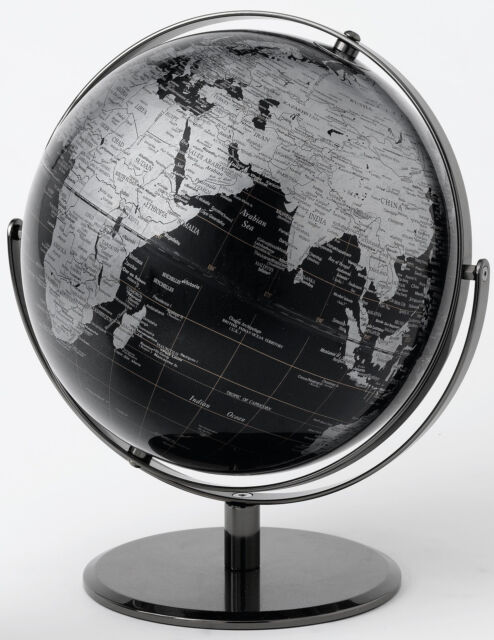 Black Geographical World Globe  Height 30.0cm.  NEW  19025