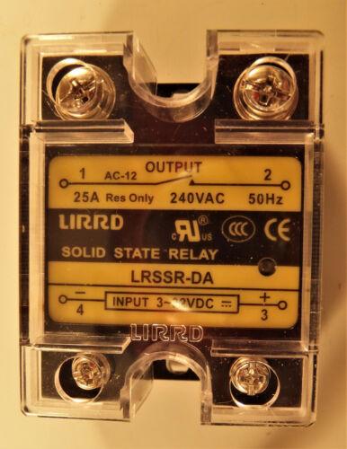 LIRRD LRSSR-DA 25A 240V SSR SOLID STATE RELAY 3-32VDC PICOBREW Z, Zymatic