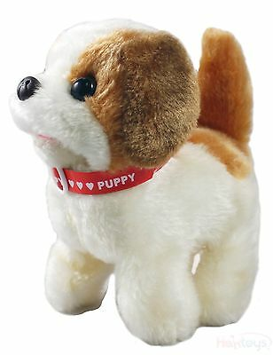 Haktoys Toy Puppy – Battery Operated Walking & Tail Wagging Plush Dog w/ barking