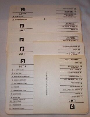 Used, 1988 Scattergories Game Category Cards Complete Replacement Set of 18 for sale  Dyer