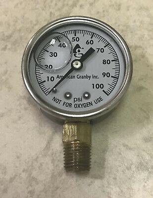 100 Psi Water Pressure Gauge 2 Dial Brass 14 Male Npt Well Pump Liquid Filled