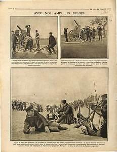 DCA canon-Révolvers antiaérien Artilleurs Soldats Cyclistes Belgique 1915 WWI