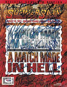 Hulk-Hogan-Bret-Hart-Ricky-Steamboat-Signed-WWE-1991-SummerSlam-Program-PSA-DNA
