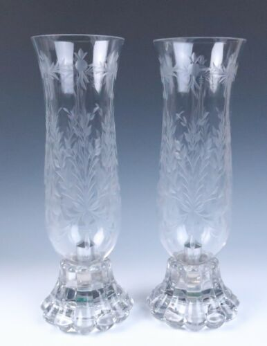"""Heisey 14.5"""" Tall Pair Crystolite Etched Hurricane Candle Lamps Glass Holder"""