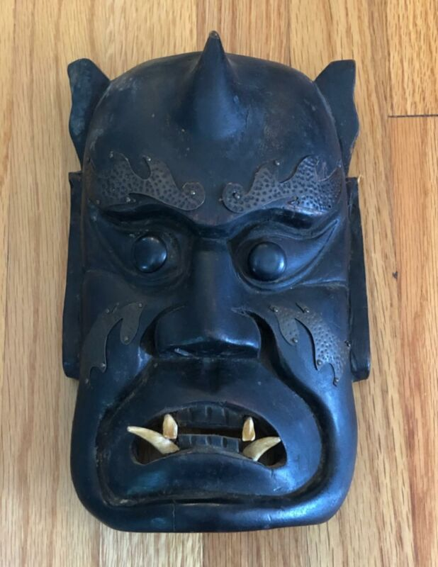 Antique Japanese Samurai Carved Wood Mask with Teeth