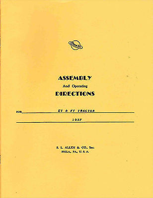 Assembly Operating Instructions Planet Jr. Et And Ft Tractor - 1937 - Reprint