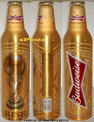 UK-EUROPE 2014 WORLD CUP SOCCER SPORTS GOLD BUDWEISER ALUMINUM BEER BOTTLE-CAN