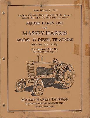 Massey-harris Vintage 33 Diesel Tractor Parts Manual 690177m2 Original