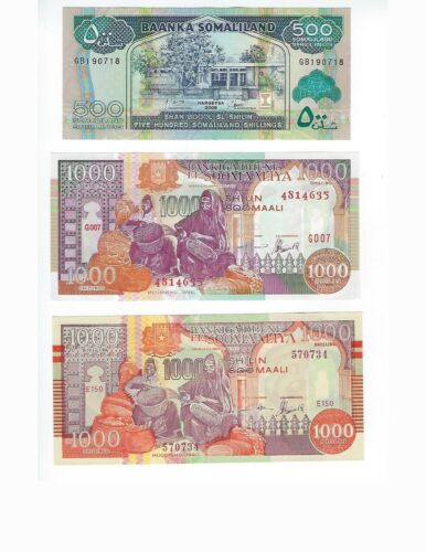 SOMALILAND THREE OBSOLETE ISSUES DIFFERENT WARLORDS   SET UNC