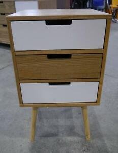 New Byron Scandi Danish Timber White Bedside Tables