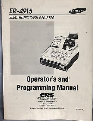Samsung Er-4915 Electronic Cash Register Operators And Programming Manual Crs