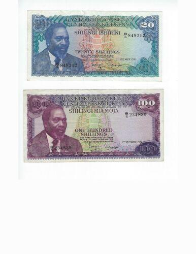 KENYA  20 SHILLING AND 100 SHILLINGS 1974    PAIR  VF