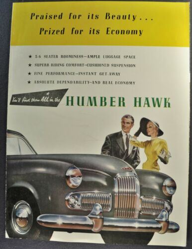 1953-1954 Humber Hawk Sedan Sales Brochure Folder Excellent Original