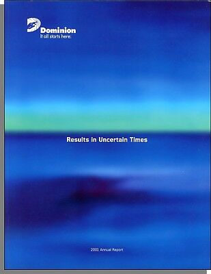 Dominion Resources Inc 2001 Annual Report   Very Good Condition