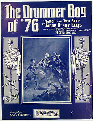 "SHEET MUSIC STORE POSTER ""DRUMMER BOY OF '76 MARCH"" ADVERTISING LARGE FORMAT"
