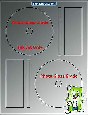 100 Photo Glossy Ink Jet Labels Fits Full Memorex 50 Sheets Cd Dvd High Gloss