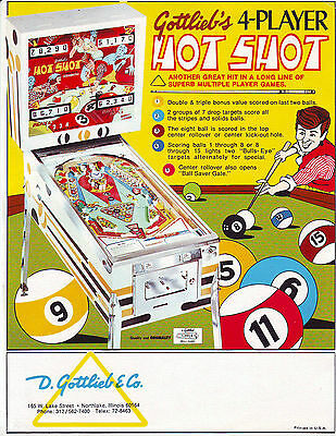 GOTTLIEB HOT SHOT ORIGINAL PINBALL MACHINE ADVERTISING PROMO SALES FLYER 1973