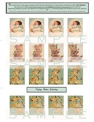 16 Vintage Baby Miniature Fine Art Prints Scrapbooking Jewelry Dollhouses Crafts