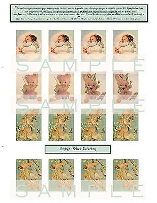 16 Vintage Baby Miniature Fine Art Prints Scrapbooking Jewelry Dollhouses Crafts