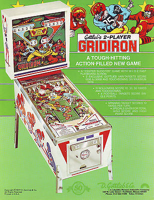 Gottlieb GRIDIRON Original 1977 NOS Flipper Game Pinball Machine Sales Flyer