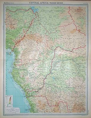1920 LARGE MAP ~ CENTRAL AFRICA ~ WESTERN SECTION ~ 23