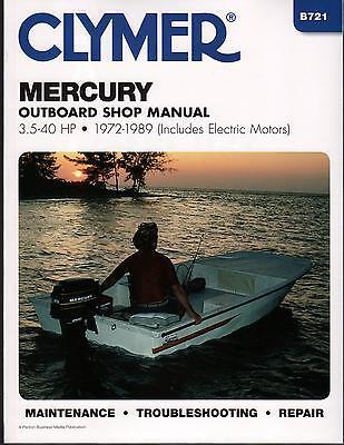 1972-1989 Clymer Mercury 3.5-40 Hp Include Electric Service Manual B721