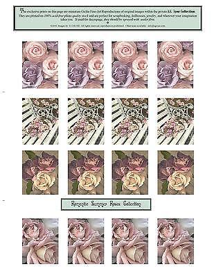 16 Antique Roses Miniature Art Prints Scrapbooking Jewelry Dollhouses Crafts
