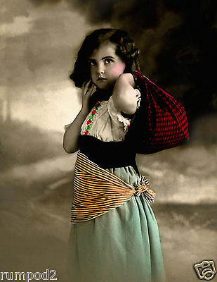Vintage Painting/ Poster/gypsy Child/peasant Girl/art Deco/17x22/old Photo