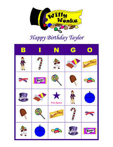 Willy Wonka The Chocolate Factory Bingo Birthday Party