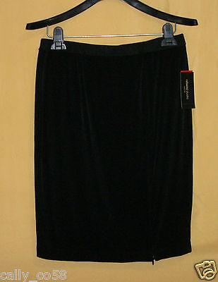Rafaella Studio Womens Black Stretch Zip Petite Pencil Straight Dress Skirt $65