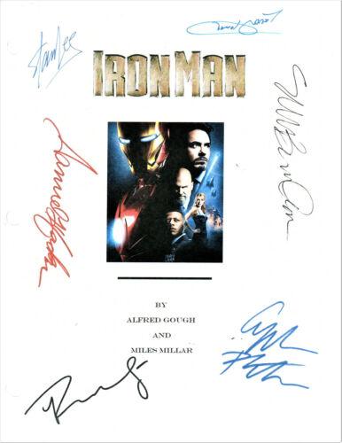 IRON MAN MOVIE REPRINT SCRIPT SIGNED BY ROBERT DOWNEY JR, STAN LEE, + CAST