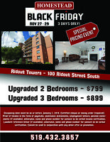 BLACK FRIDAY SPECIAL Ridout Towers - 100 Ridout St - 3 bd