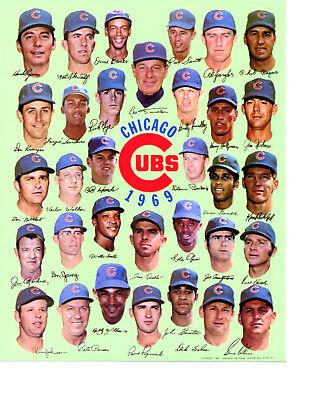 1969 CHICAGO CUBS  8X10 TEAM PHOTO BANKS SANTO JENKINS  BASEBALL MLB HOF